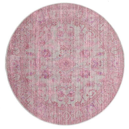 Maharani - Cinzento/Rosa Tapete Ø 150 Moderno Redondo Luz Rosa ( Turquia)