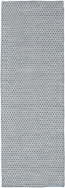 Kilim Honey Comb - Azul Tapete 80X240 Moderno Tecidos À Mão Tapete Passadeira Azul Claro/Cinzento Claro (Lã, Índia)