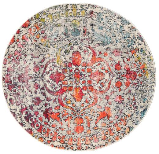 Kaleidoscope - Multi Tapete Ø 150 Moderno Redondo Cinzento Claro/Castanho Escuro ( Turquia)
