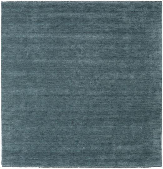 Handloom Fringes - Azul Petroleo Tapete 250X250 Moderno Quadrado Azul Grande (Lã, Índia)