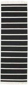 Dhurrie Stripe - Preto/Branco Tapete 80X250 Moderno Tecidos À Mão Tapete Passadeira Preto/Branco/Creme (Lã, Índia)
