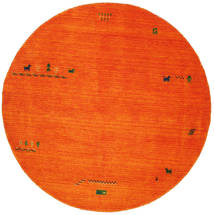 Gabbeh Indo - Laranja Tapete Ø 200 Moderno Redondo Vermelho/Castanho Alaranjado/Branco/Creme (Lã, Índia)