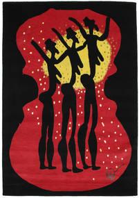 Dance Tapete 135X190 Moderno Feito A Mão Preto/Vermelho (Lã, Índia)