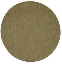 Kilim Loom - Azeitona Tapete Ø 250 Moderno Tecidos À Mão Redondo Verde Azeitona Grande (Lã, Índia)