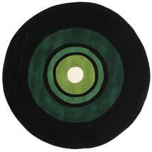 Schallplatte Handtufted Tapete Ø 150 Moderno Redondo Verde Escuro (Lã, Índia)