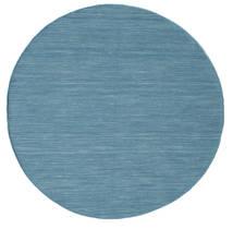 Kilim Loom - Azul Tapete Ø 150 Moderno Tecidos À Mão Redondo Azul Turquesa/Azul/Azul Claro (Lã, Índia)