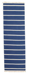 Dhurrie Stripe - Azul Escuro Tapete 80X300 Moderno Tecidos À Mão Tapete Passadeira Azul/Bege (Lã, Índia)