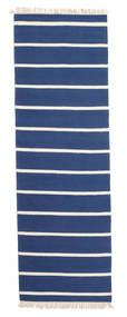 Dhurrie Stripe - Azul Escuro Tapete 80X250 Moderno Tecidos À Mão Tapete Passadeira Azul/Bege (Lã, Índia)