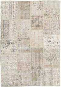 Patchwork Tapete 138X201 Moderno Feito A Mão Cinzento Claro/Bege Escuro (Lã, Turquia)