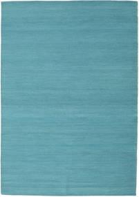 Kilim Loom - Azul Petroleo Tapete 140X200 Moderno Tecidos À Mão Azul Turquesa (Lã, Índia)