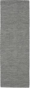 Kilim Honey Comb - Preto/Cinzento Tapete 80X240 Moderno Tecidos À Mão Tapete Passadeira Cinzento Claro/Cinza Escuro (Lã, Índia)