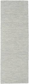 Kilim Honey Comb - Cinzento Tapete 80X240 Moderno Tecidos À Mão Tapete Passadeira Cinzento Claro/Bege (Lã, Índia)