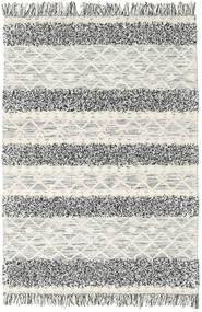 Kilim Berber Ibiza - Preto E Branco Tapete 140X200 Moderno Tecidos À Mão Cinzento Claro/Bege Escuro (Lã, Índia)