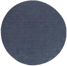 Kilim Loom - Denim Azul Tapete Ø 200 Moderno Tecidos À Mão Redondo Azul (Lã, Índia)