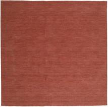Kilim Loom - Castanho Alaranjado Tapete 250X250 Moderno Tecidos À Mão Quadrado Vermelho Escuro Grande (Lã, Índia)