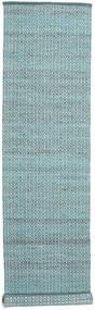 Alva - Turquesa/Branco Tapete 80X350 Moderno Tecidos À Mão Tapete Passadeira Azul Claro/Turquesa Escuro (Lã, Índia)