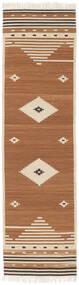 Tribal - Amarelo Mostarda Tapete 80X300 Moderno Tecidos À Mão Tapete Passadeira Castanho/Castanho Claro/Bege (Lã, Índia)