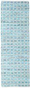 Elna - Bright_Blue Tapete 80X250 Moderno Tecidos À Mão Tapete Passadeira Azul Claro/Azul Turquesa (Algodão, Índia)