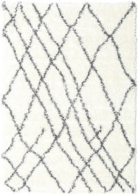 Shaggy Tangier - Branco/Cinza Escuro Tapete 160X230 Moderno Bege/Cinzento Claro ( Turquia)