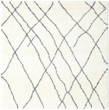 Shaggy Tangier - Branco/Cinza Escuro Tapete 250X250 Moderno Quadrado Bege/Branco/Creme Grande ( Turquia)