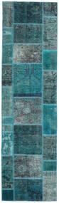 Patchwork - Persien/Iran Tapete 80X296 Moderno Feito A Mão Tapete Passadeira Turquesa Escuro/Azul Turquesa (Lã, Pérsia/Irão)
