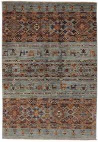 Shabargan Tapete 122X181 Moderno Feito A Mão Castanho Escuro/Preto/Verde Escuro (Lã, Afeganistão)